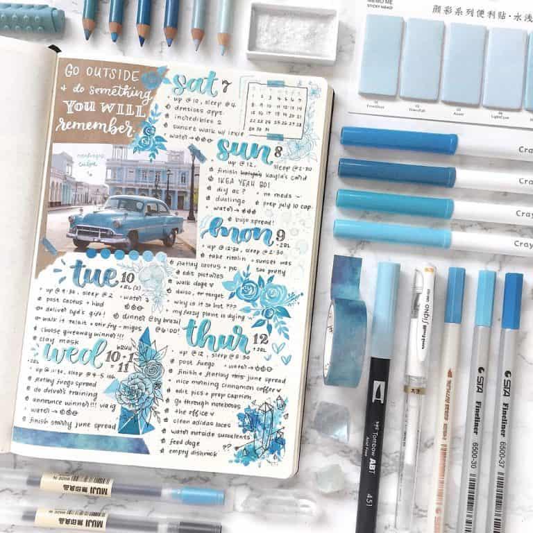 Cum să integrezi culoarea albastru în bullet journal (+33 idei care să te inspire)