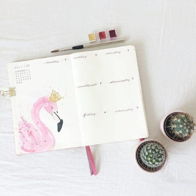 26 idei cu flamingo pentru bullet journal